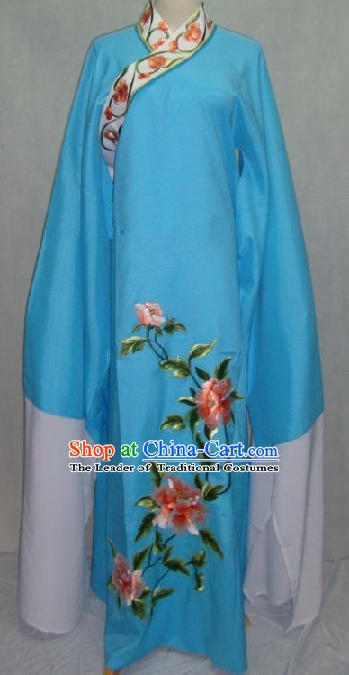 China Beijing Opera Lang Scholar Niche Costume Blue Embroidered Peony Robe for Adults