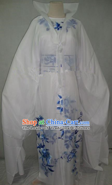 Traditional Chinese Beijing Opera Scholar Niche Costume Embroidered White Robe for Adults