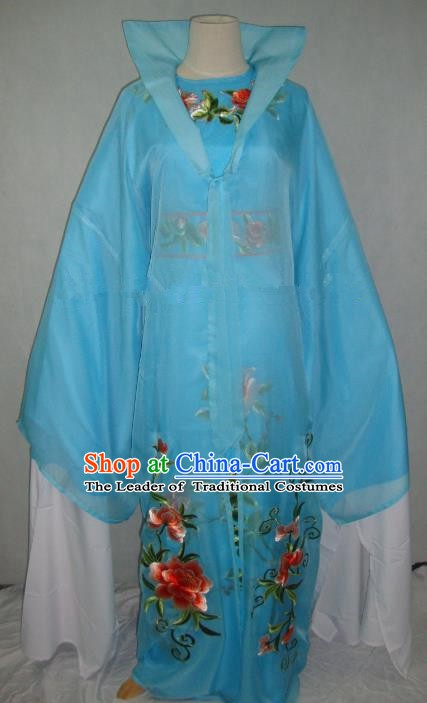 Traditional Chinese Beijing Opera Scholar Niche Costume Embroidered Blue Robe for Adults
