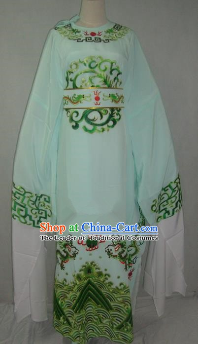 Traditional Chinese Beijing Opera Niche Costume Beijing Opera Embroidered Green Robe for Adults