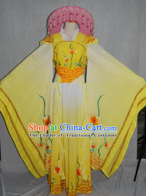 Traditional China Beijing Opera Yellow Dress Chinese Peking Opera Diva Embroidered Costume