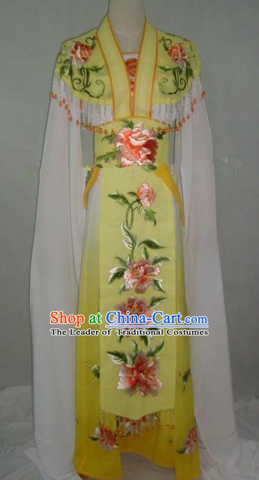 Traditional China Beijing Opera Embroidered Peony Yellow Dress Chinese Peking Opera Diva Costume