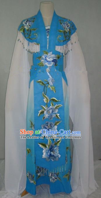 Traditional China Beijing Opera Embroidered Peony Blue Dress Chinese Peking Opera Diva Costume