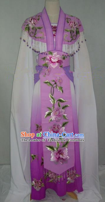 Traditional China Beijing Opera Embroidered Peony Purple Dress Chinese Peking Opera Diva Costume
