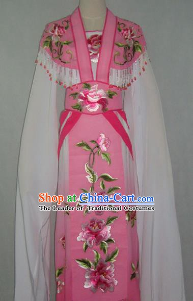 Traditional China Beijing Opera Embroidered Peony Pink Dress Chinese Peking Opera Diva Costume