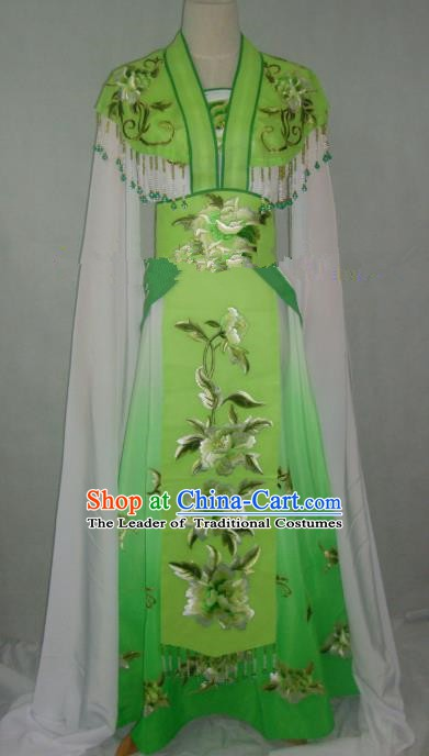 Traditional China Beijing Opera Embroidered Peony Green Dress Chinese Peking Opera Diva Costume