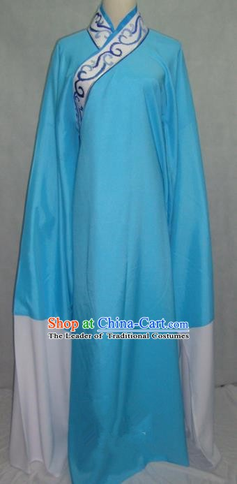 Traditional Chinese Beijing Opera Niche Scholar Costume Beijing Opera Blue Robe for Adults