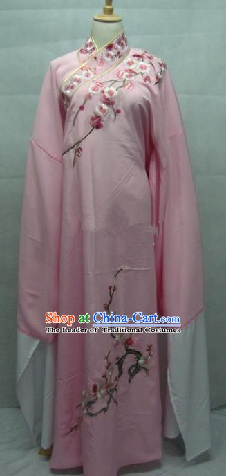 Traditional Chinese Beijing Opera Niche Costume Embroidered Plum Blossom Pink Robe for Adults