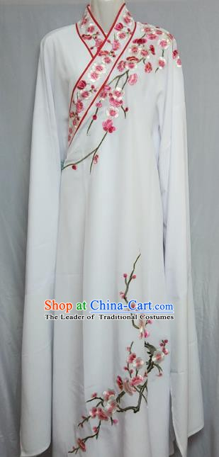 Traditional Chinese Beijing Opera Niche Costume Embroidered Plum Blossom White Robe for Adults