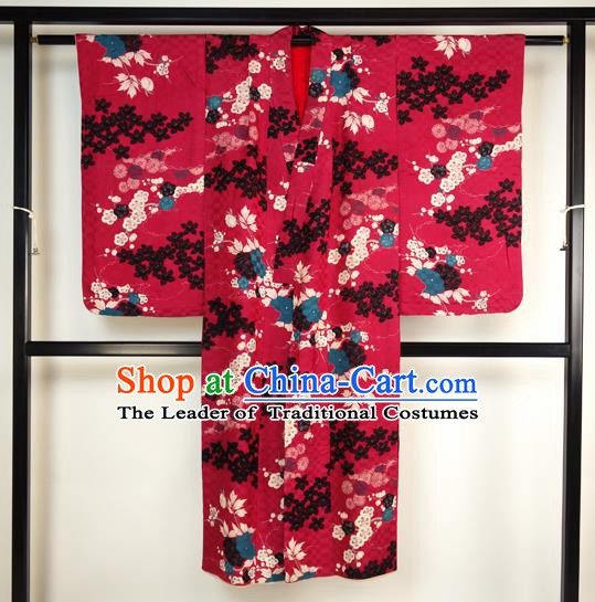 Asian Japan Palace Kimono Ancient Rosy Yukata Dress Formal Costume Furisode Kimonos for Women