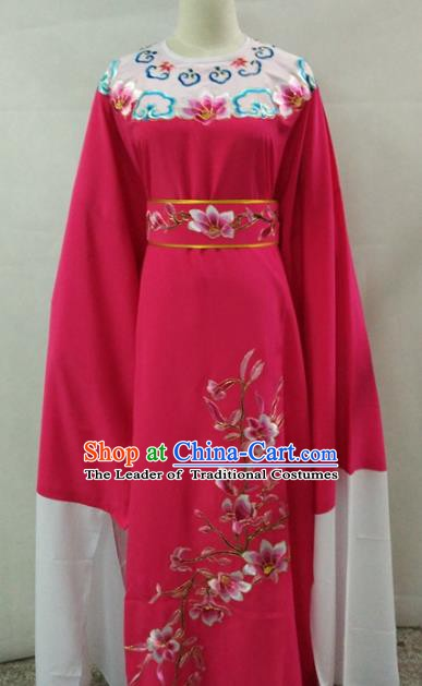 Traditional Chinese Shaoxing Opera Niche Scholar Embroidery Rosy Robe Costume for Adults
