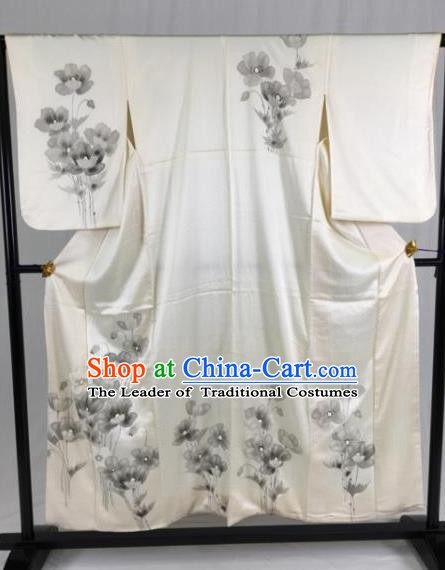 Japan Traditional White Silk Kimono Formal Costume Palace Furisode Kimonos Ancient Yukata Dress for Women