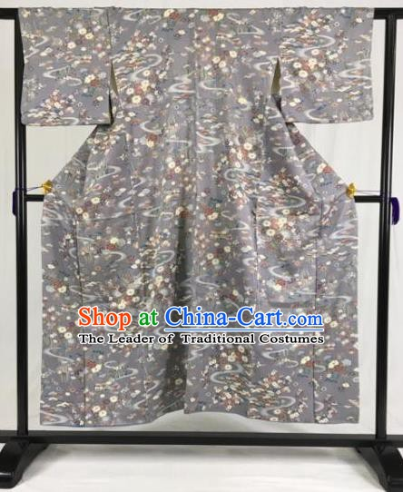 Japanese National Costume Grey Kimono Ancient Palace Hakama Yukata Robe for Men