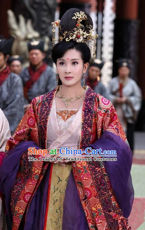 Chinese Traditional Tang Dynasty Palace Princess Tai Ping Replica Costume for Women
