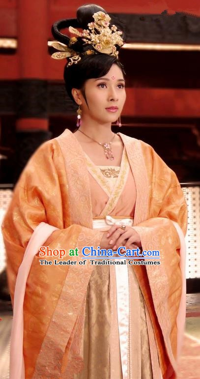 Chinese Ancient Tang Dynasty Princess Tai Ping Embroidered Dress Palace Replica Costume for Women