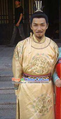 Traditional Chinese Tang Dynasty Emperor Ruizong Li Dan Imperial Robe Replica Costume for Men