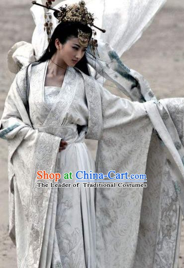 Chinese Ancient Theatre Princess Hanfu Embroidered Costume and Headpiece Complete Set