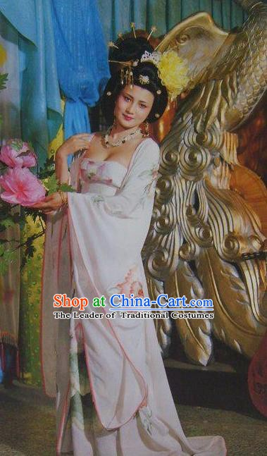 Chinese Ancient Tang Dynasty Imperial Consort Yang Embroidered Replica Costume for Women
