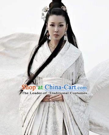 Chinese Ancient Teleplay Performance Palace Lady Hanfu Embroidered Costume and Headpiece Complete Set