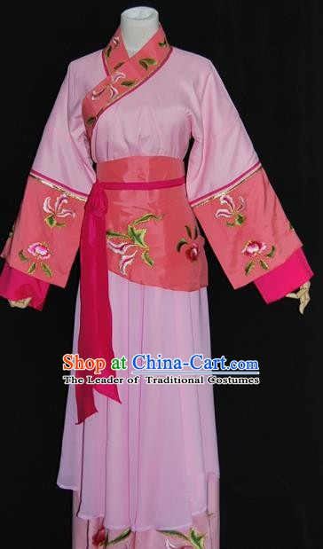 Traditional China Beijing Opera Diva Pink Dress Chinese Peking Opera Maidservants Costume