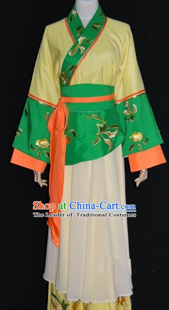 Traditional China Beijing Opera Diva Yellow Dress Chinese Peking Opera Maidservants Costume