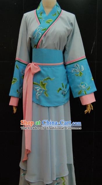 Traditional China Beijing Opera Diva Blue Dress Chinese Peking Opera Maidservants Costume