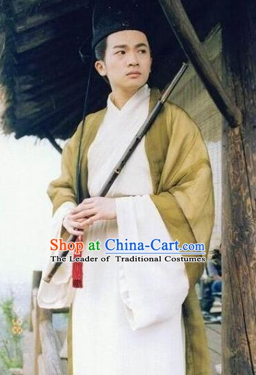 Chinese Ancient Romance of the West Chamber Tang Dynasty Childe Zhang Replica Costume for Men