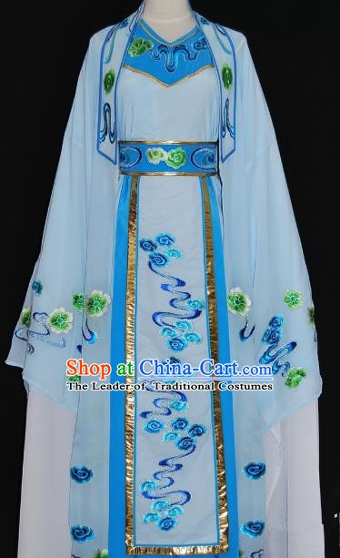 Traditional Chinese Beijing Opera Niche Costume Scholar Embroidery Blue Robe for Adults