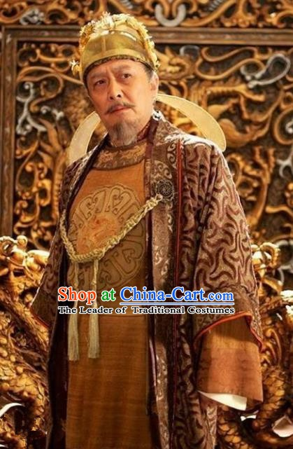 Chinese Ancient Tang Dynasty Emperor Taizong Li Shimin Embroidered Replica Costume for Men