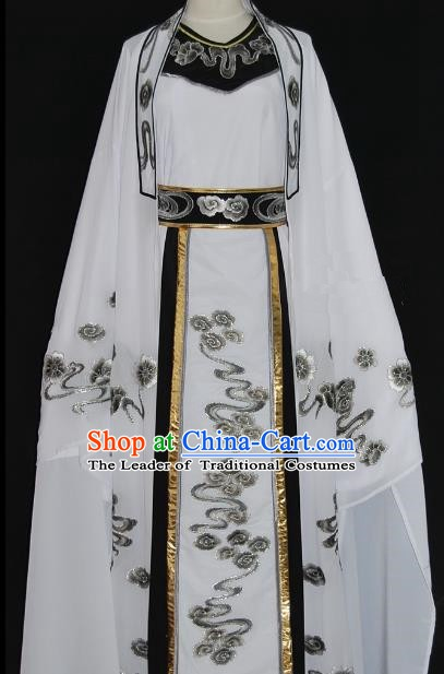 Traditional Chinese Beijing Opera Niche Costume Scholar Embroidery White Robe for Adults
