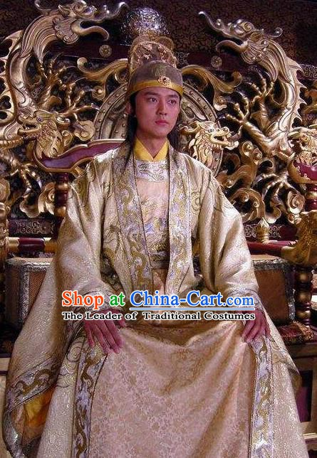 Chinese Ancient Zhong Emperor of Tang Dynasty Li Xian Embroidered Replica Costume for Men