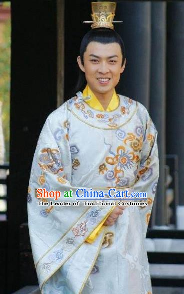 Chinese Ancient Tang Dynasty Crown Prince Li Xian Embroidered Replica Costume for Men
