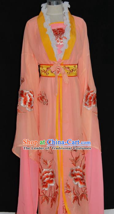 Traditional Chinese Beijing Opera Diva Orange Dress Peking Opera Princess Embroidered Costume