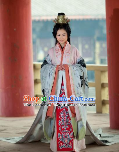 Chinese Han Dynasty Ancient Princess Hanfu Embroidered Dress Costume for Women