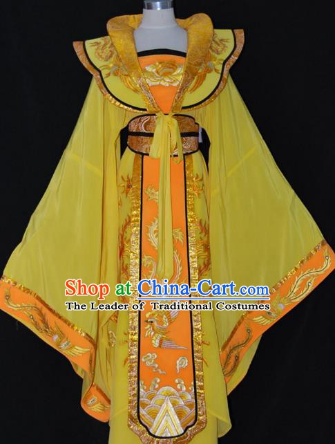 Traditional Chinese Beijing Opera Imperial Empress Yellow Dress Peking Opera Diva Embroidered Costume