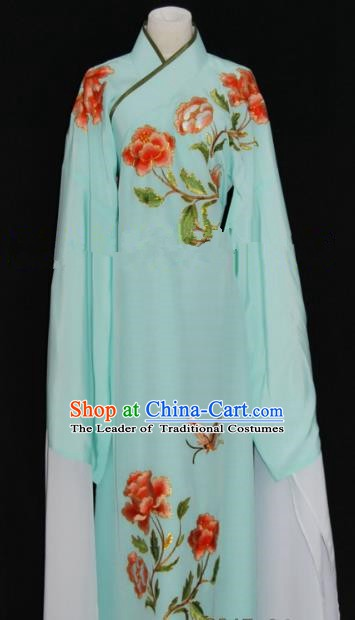 Traditional Chinese Beijing Opera Embroidery Peony Green Costume Peking Opera Niche Clothing for Adults
