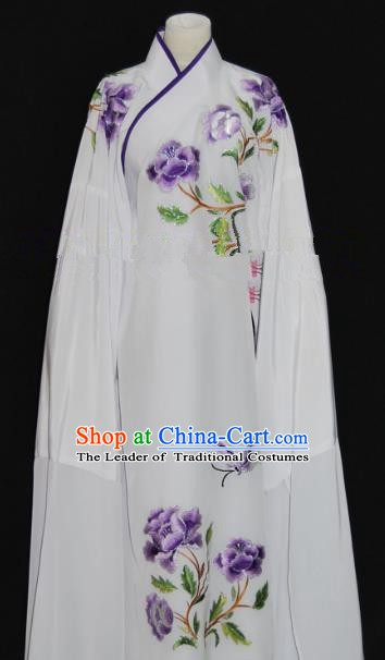Traditional Chinese Beijing Opera Embroidery Peony White Costume Peking Opera Niche Clothing for Adults