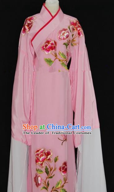 Traditional Chinese Beijing Opera Embroidery Peony Pink Costume Peking Opera Niche Clothing for Adults