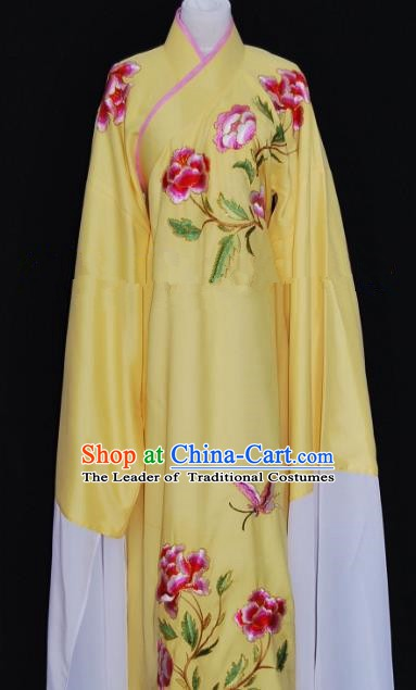 Traditional Chinese Beijing Opera Embroidery Peony Yellow Costume Peking Opera Niche Clothing for Adults
