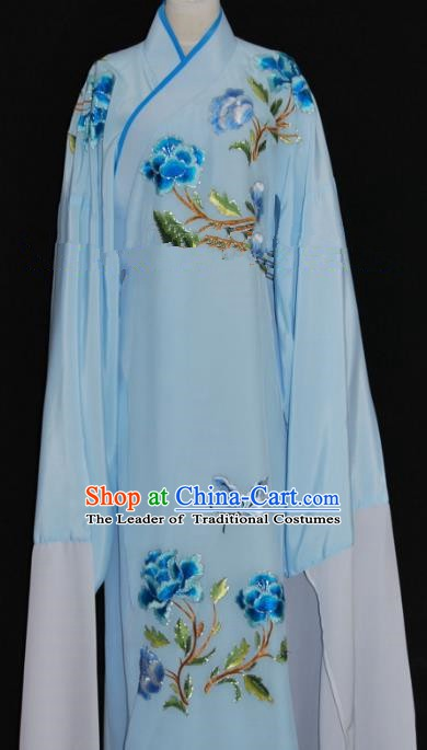 Traditional Chinese Beijing Opera Embroidery Peony Blue Costume Peking Opera Niche Clothing for Adults