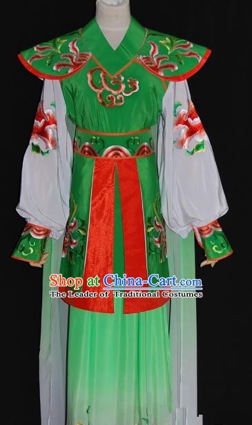 Traditional Chinese Beijing Opera Female Warrior Green Dress Peking Opera Blues Embroidered Costume