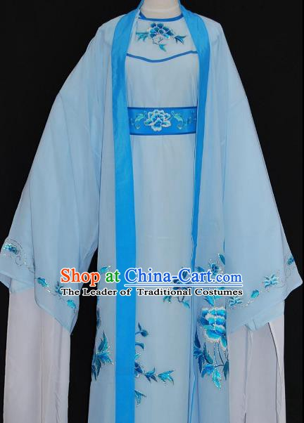 Traditional Chinese Beijing Opera Scholar Blue Robe Costume Peking Opera Niche Clothing for Adults