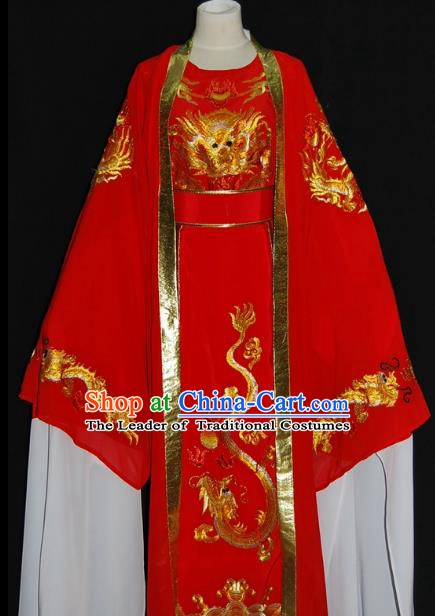 Traditional Chinese Beijing Opera Prince Red Robe Costume Peking Opera Young Men Clothing for Adults