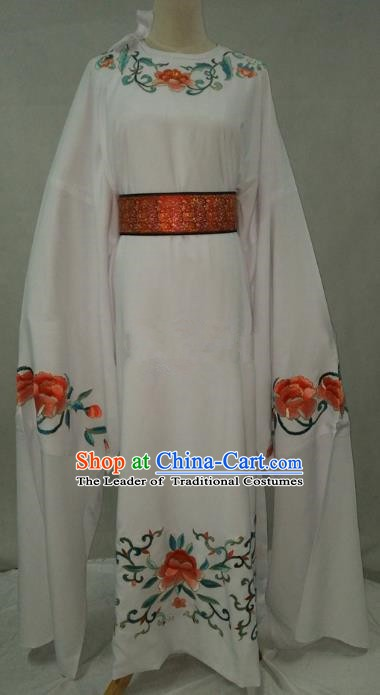 Traditional Chinese Beijing Opera Niche Water Sleeve White Robe Peking Opera Young Men Costume for Adults
