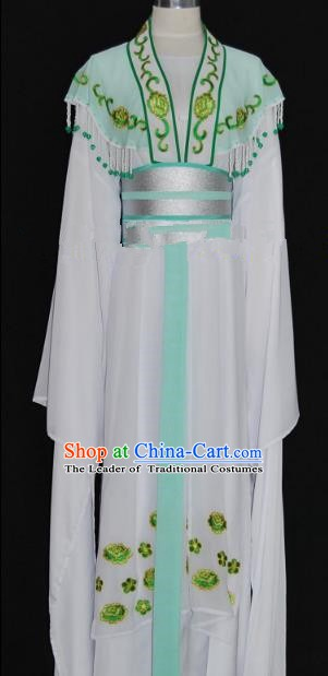 Traditional Chinese Beijing Opera Princess Green Dress Peking Opera Diva Embroidered Costume