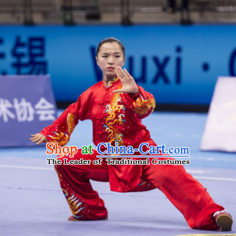 Supreme Female Taiji Quan Uniforms Kung Fu Suit Kung Fu Uniform Chinese Jacket Taiji Clothes Dress Dresses Kung Fu Clothing Embroidered Tai Chi Suits Custom Kung Fu Embroidery Uniforms