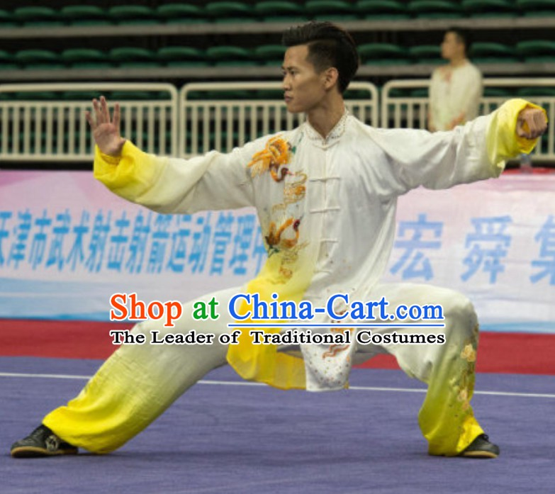 Top Taiji Garment Long Sleeves Kung Fu Uniforms Tai Chi Uniforms Martial Arts Blouse Pants Kung Fu Suits Kungfu Outfit Professional Kung Fu Clothing Complete Set for Men Boys Kids Teenagers