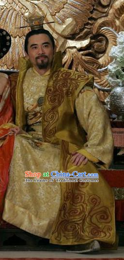 Chinese Ancient Xuanzong Emperor of Tang Dynasty Li Longji Embroidered Replica Costume for Men