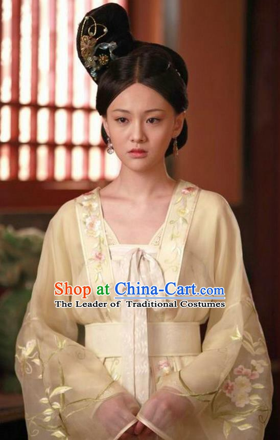 Ancient Chinese Tang Dynasty Princess Tai Ping Embroidered Dress Replica Costume for Women