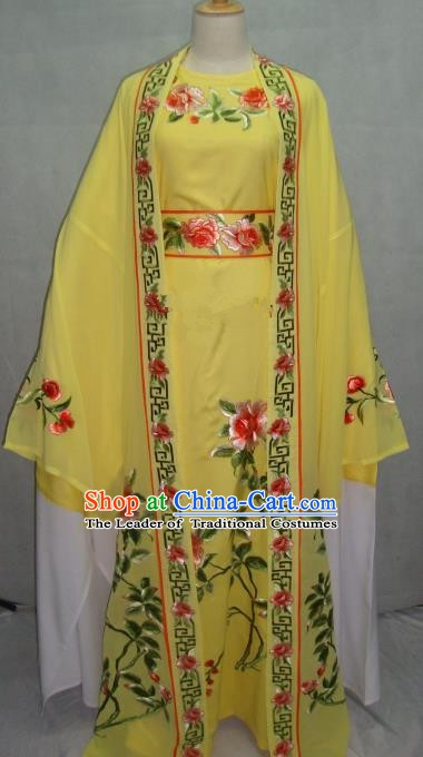 Traditional Chinese Beijing Opera Young Men Yellow Robe Peking Opera Niche Costume for Adults